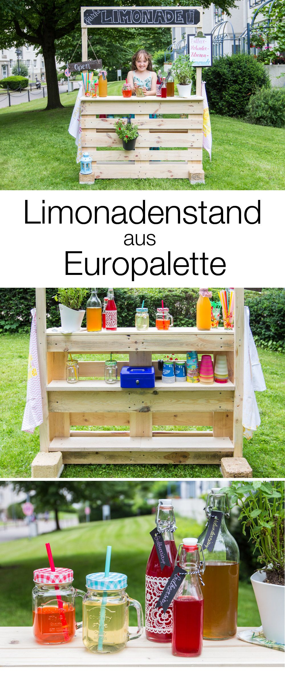 diy limonadenstand aus europalette bauen diy ideen basteln selbermachen pinterest. Black Bedroom Furniture Sets. Home Design Ideas