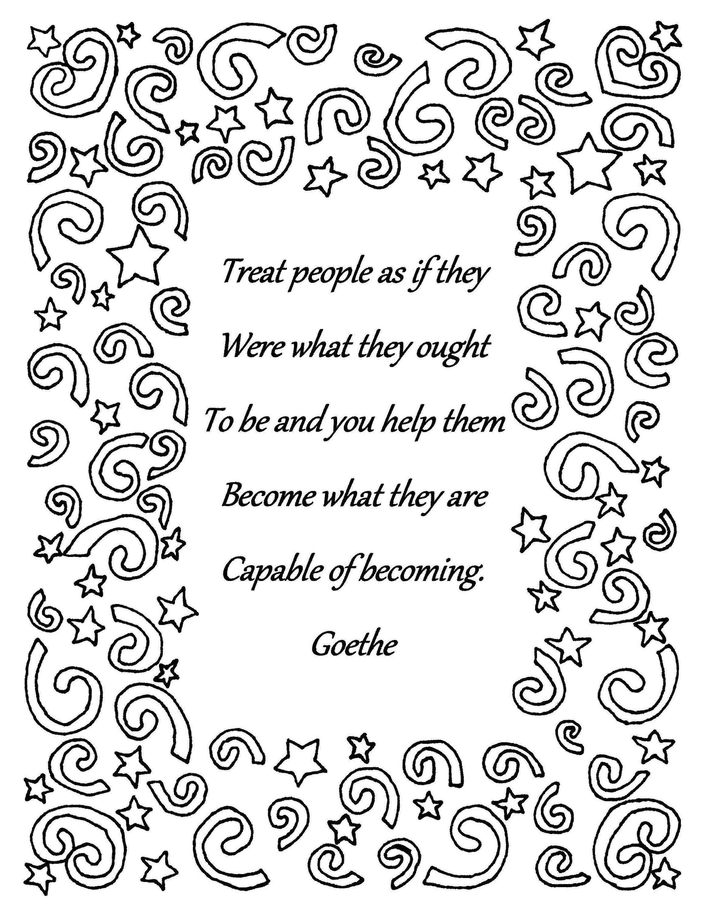 Treat People As If Goethe Quote Coloring Page Download Quote