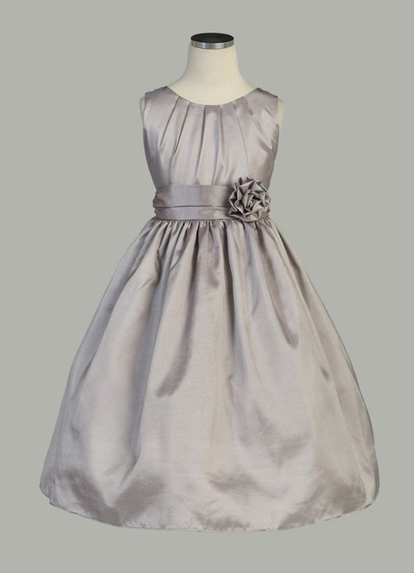 Pleated Solid Taffeta Sleeveless Flower Girl Dress | Wedding ...