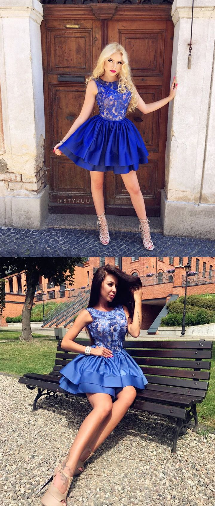 Aline round neck royal blue satin homecoming dress with lace in