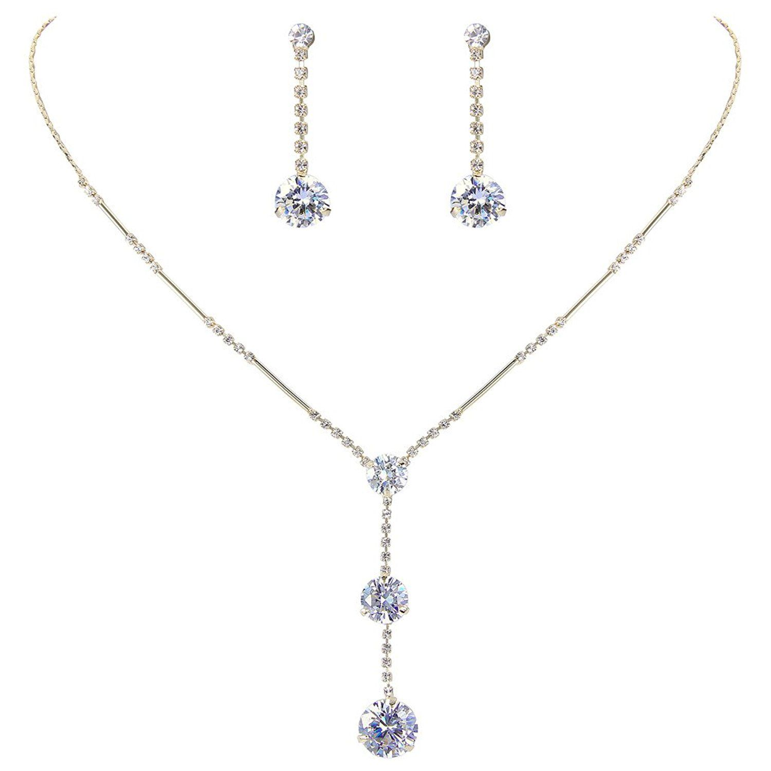 Elequeen womenus long bridal ball necklace earrings set adorned with