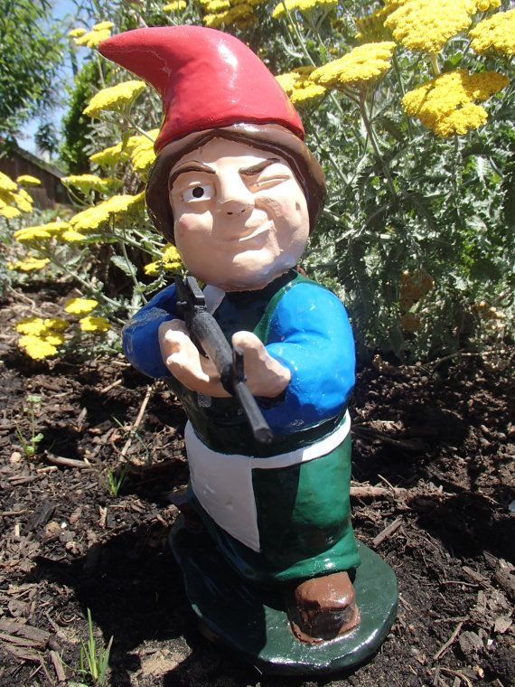 Brunette Combat Garden Gnome Female Rifleman With Part 70