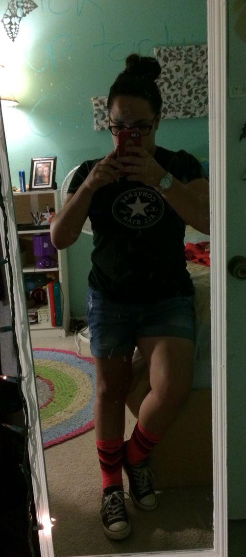 Finally found an outfit that match my crazy Orange Nike Socks. #Nike #Crazy #Chucks