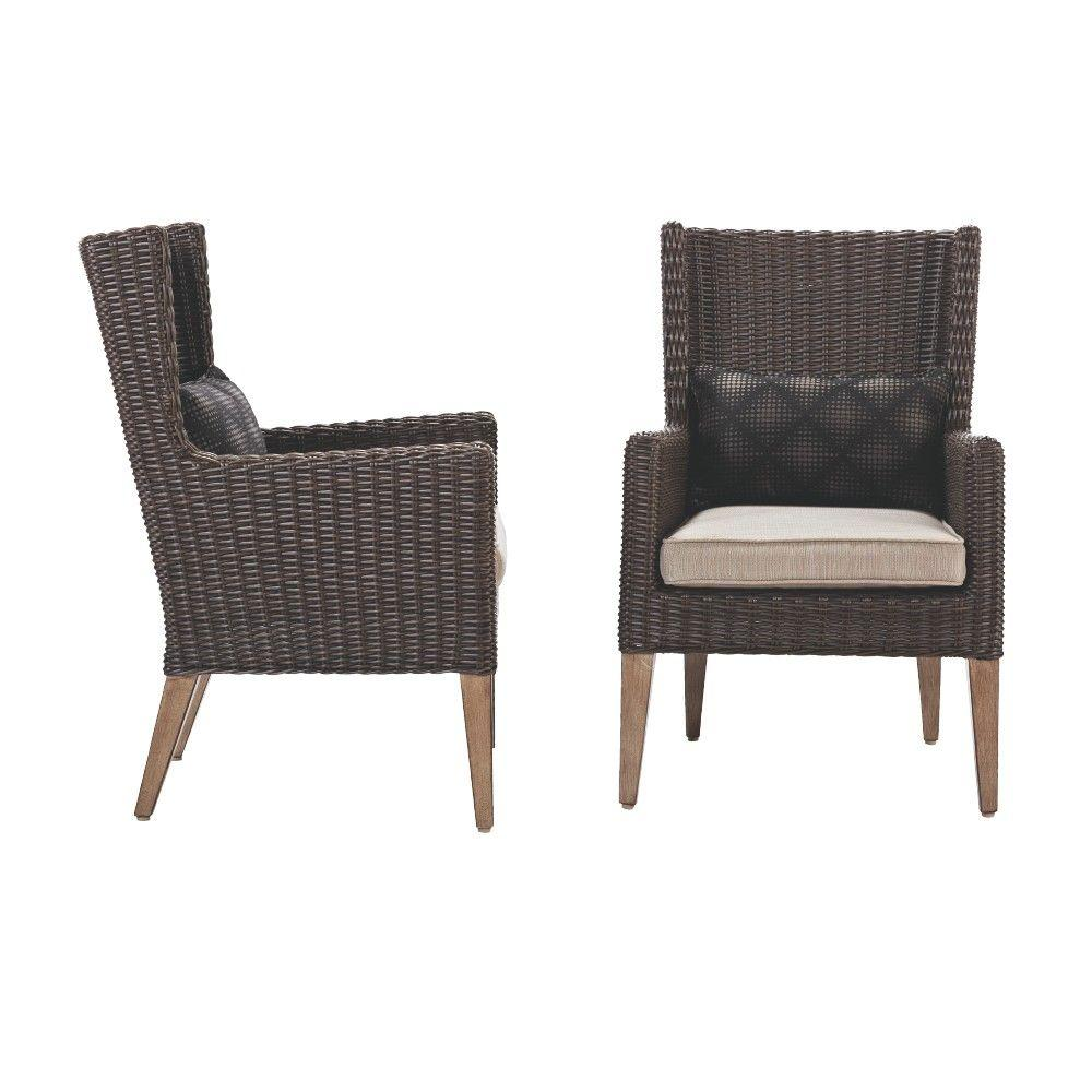 Home Decorators Collection Naples Brown All Weather Patio Wingback Chair With Putty Cushions Set Of 2