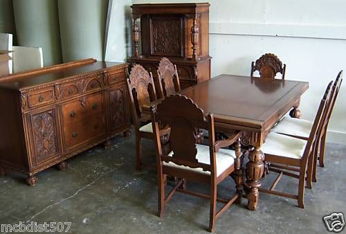Beautiful Vintage 1930s Jacobean Style Dining Room Set Antique