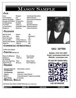 resume actor headshot resume examples templates - Resume Examples For Actors