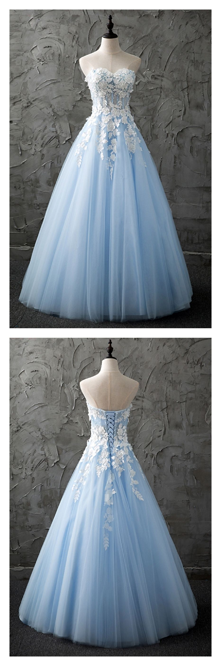 Sweetheart sky blue long tulle prom dresses with appliqueed
