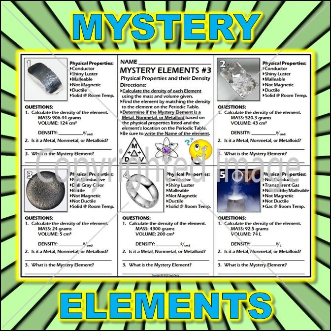 Worksheet Mystery Elements and Their Density Version 3 Periodic - best of periodic table of elements handout