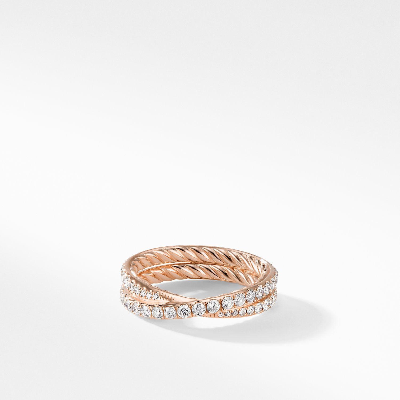 Dy Crossover Wedding Band With Diamonds In 18k Rose Gold 5 2mm David Yurman In 2020 Diamond Wedding Bands Pave Diamond Wedding Bands Crossover Wedding Ring