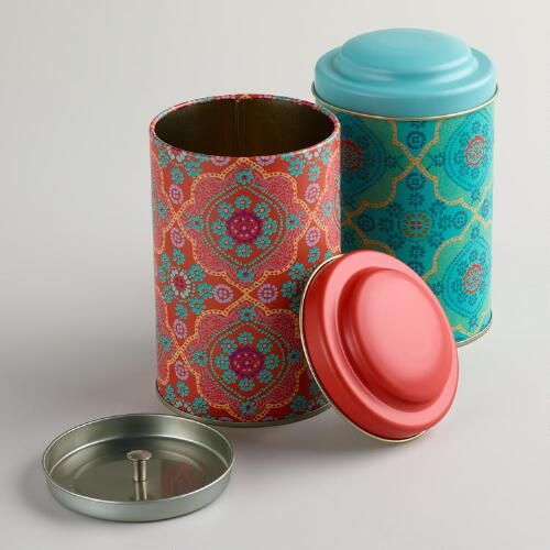 """Mosaic Tea Tins, Set of 2 - DETAILS & DIMENSIONS Made of metal Set of 2 in pink and blue Airtight lids World Market exclusive 3.4""""Dia. x 5.75""""H"""