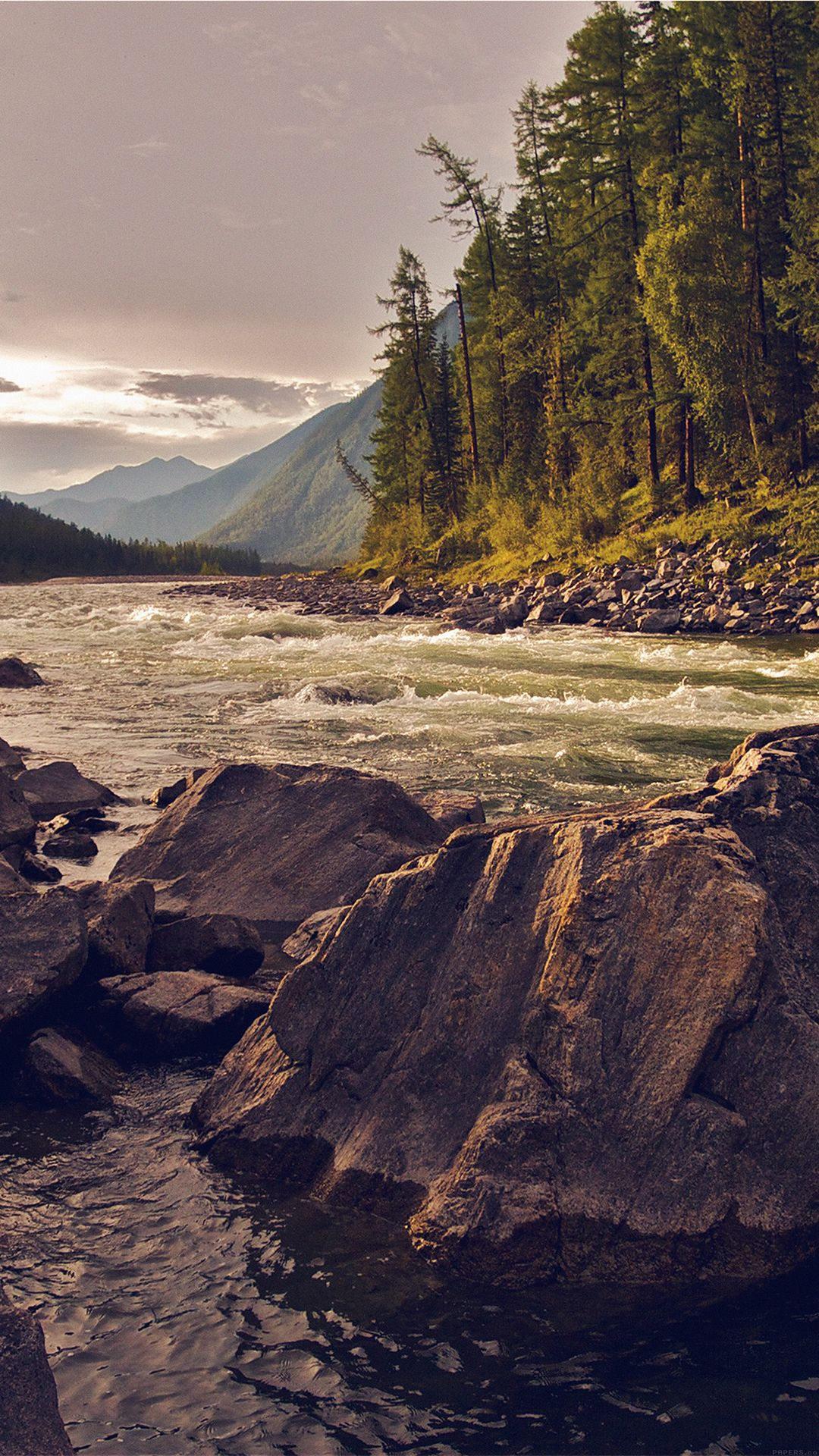 Summer Camp Nature Mountain River iPhone 6 wallpaper