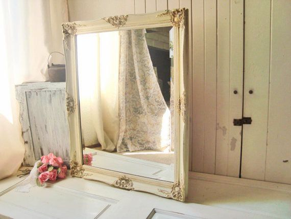 RESERVED Do Not Buy Cream Distressed Mirror Large Ornate Antique Shabby Chic Big Bathroom Baroque Style