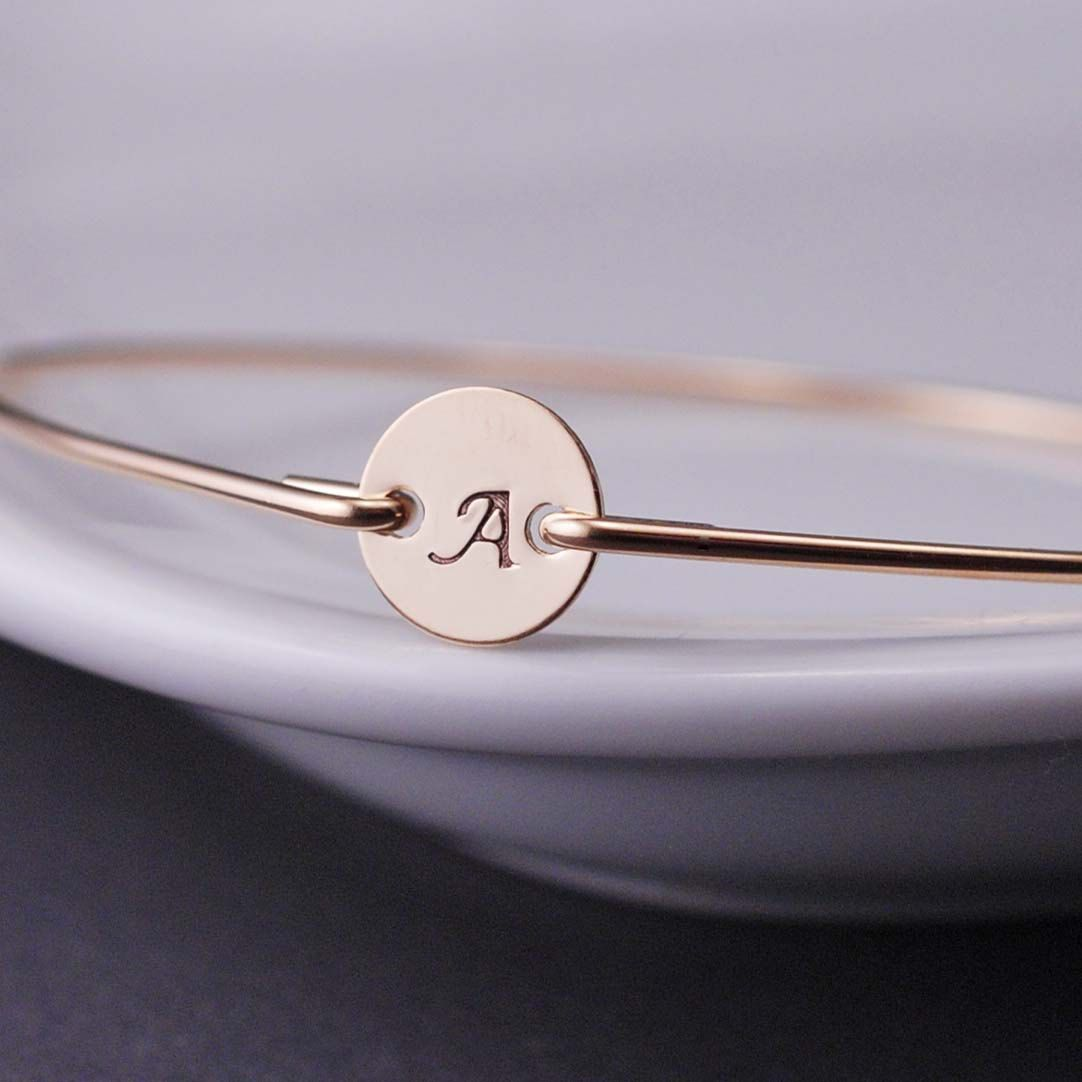 Initial bracelet custom gold initial bangle bracelet personalized