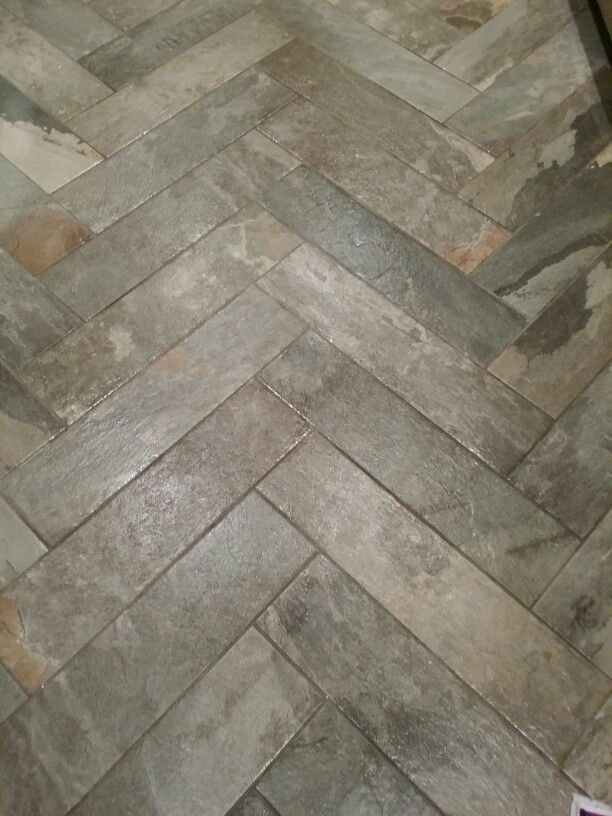 Kitchen Floor Tile From Lowe S Done In Herringbone Grout In New