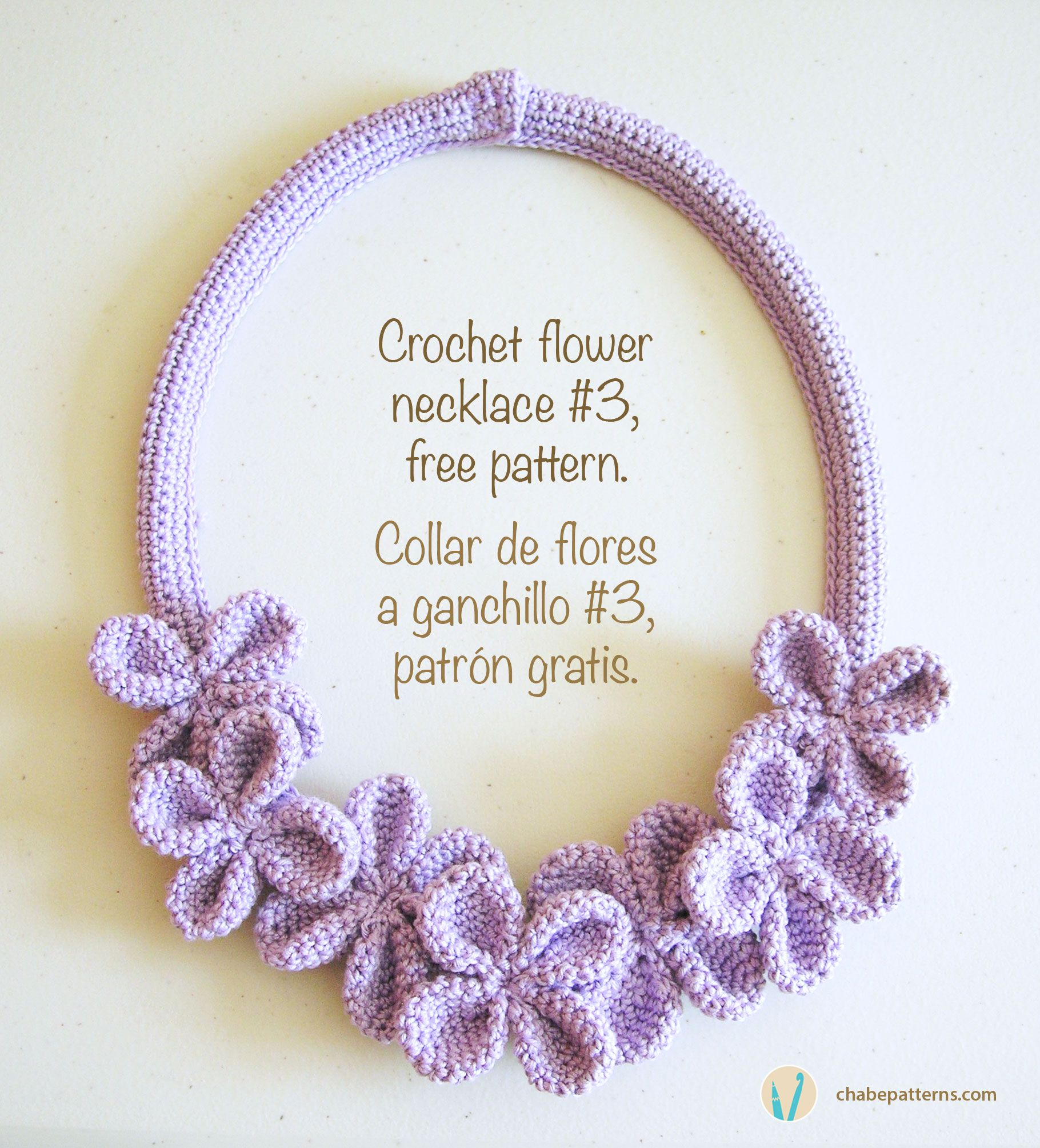 Crochet flower necklace #3, free pattern/ Collar de flores a ...