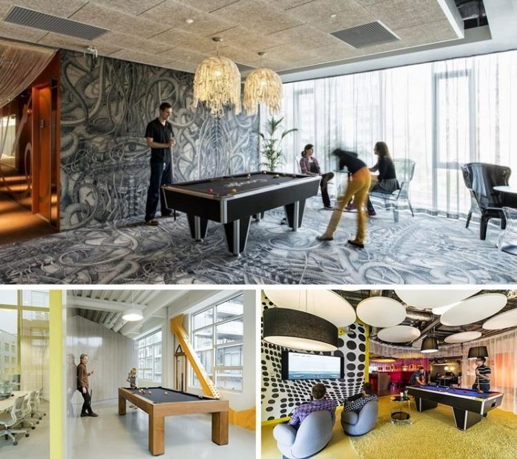 espace de travail collaboratif et salle de jeux avec table billard cool office pinterest. Black Bedroom Furniture Sets. Home Design Ideas