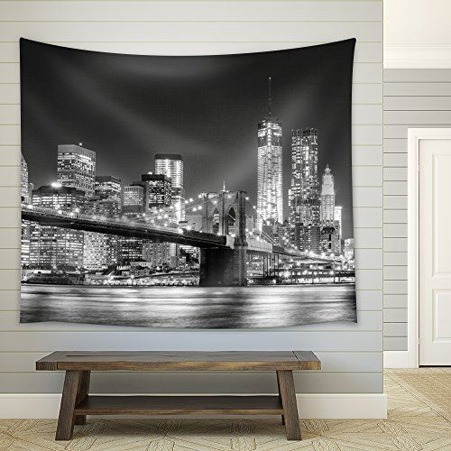 Wall26 Grayscale Photograph Of The Brooklyn Bridge Loo Https Www Amazon Com Dp B01dlyfx With Images Black And White Wall Tapestry White Walls Black And White Decor