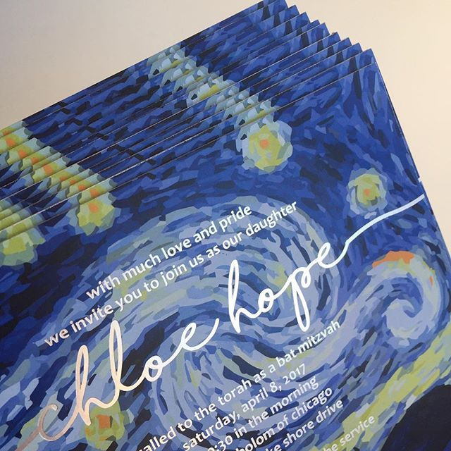 Happy Friday Night! ✨  Here's a peek at our custom Starry Night Bat Mitzvah invitations created for Chloe! We imprinted in silver foil over this incredible custom designed starry night, made the invites super thick and hand painted the edges in silver. Can't wait to share the full invite as well as some pics from the Bat Mitzvah! @designereventchicago @thestudiolmc