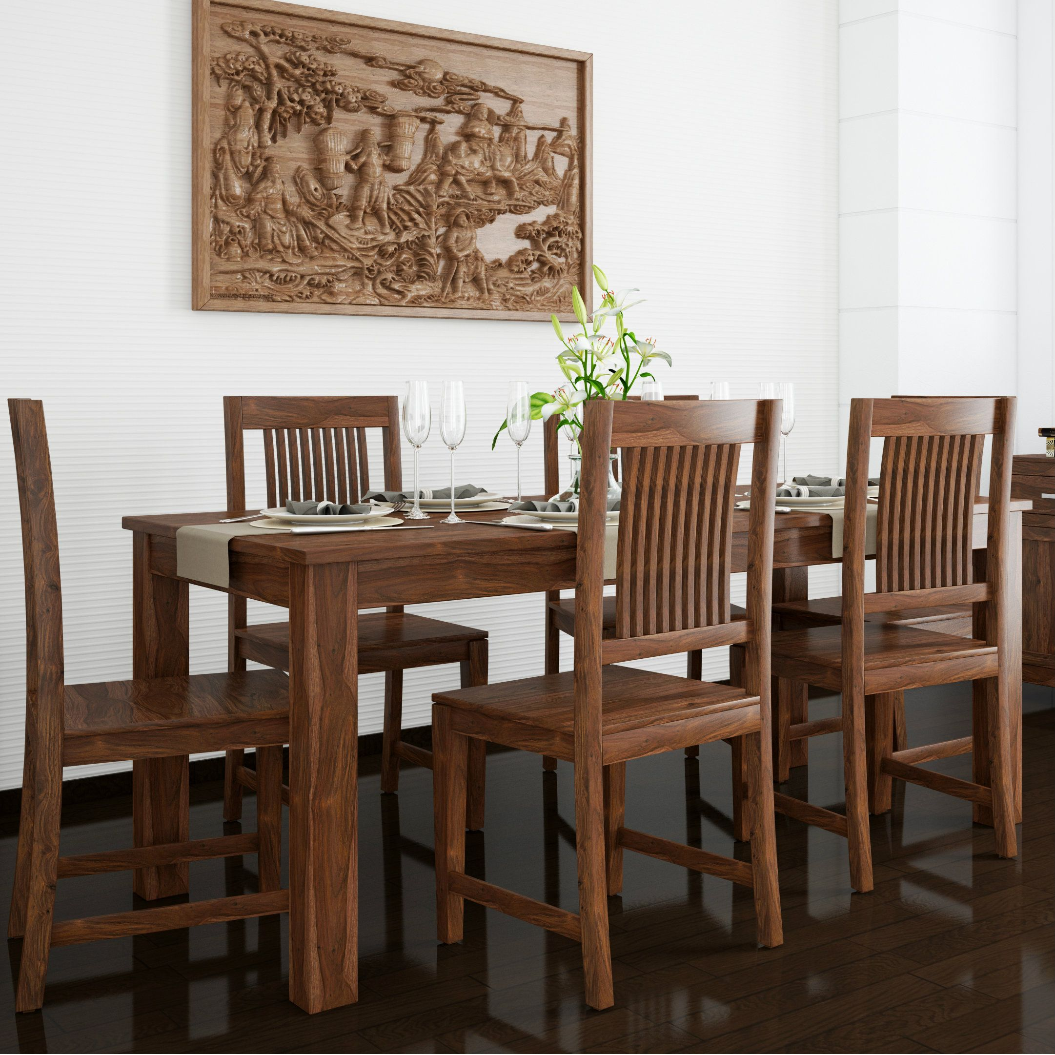 Classic Indian Dining Room With Rich Wood Finishes Dinning Table Dinning Set Dining Table