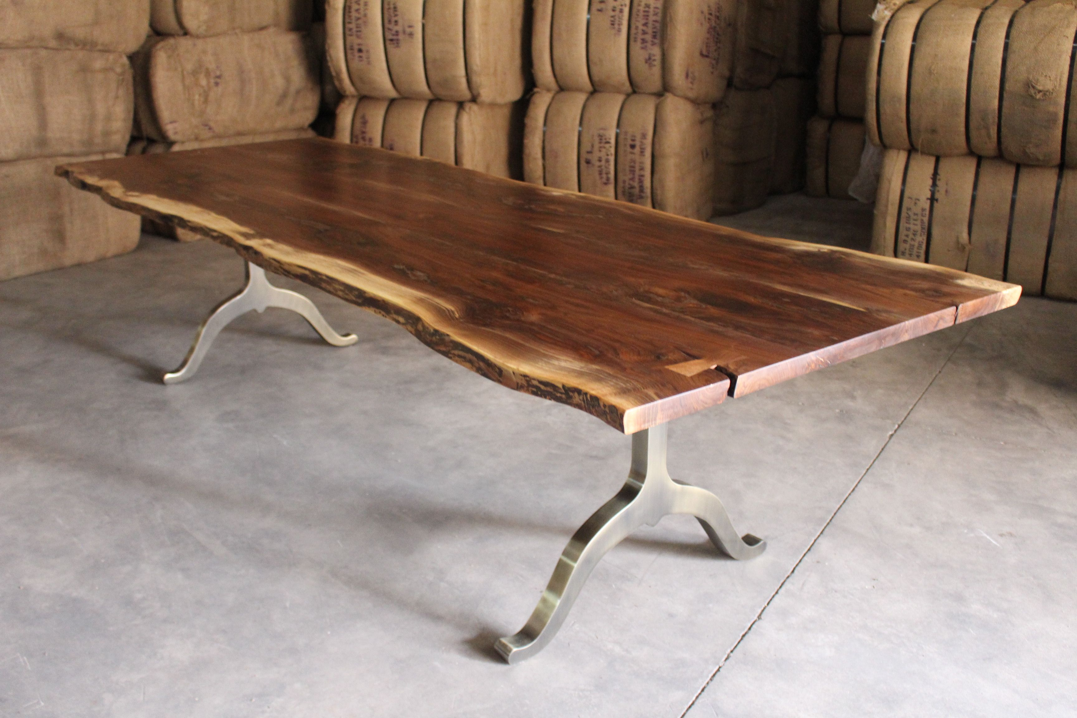Live Edge Black Walnut Table With Antique Br Plated Base Sustainable Tables And Furniture Made From Salvaged Wood