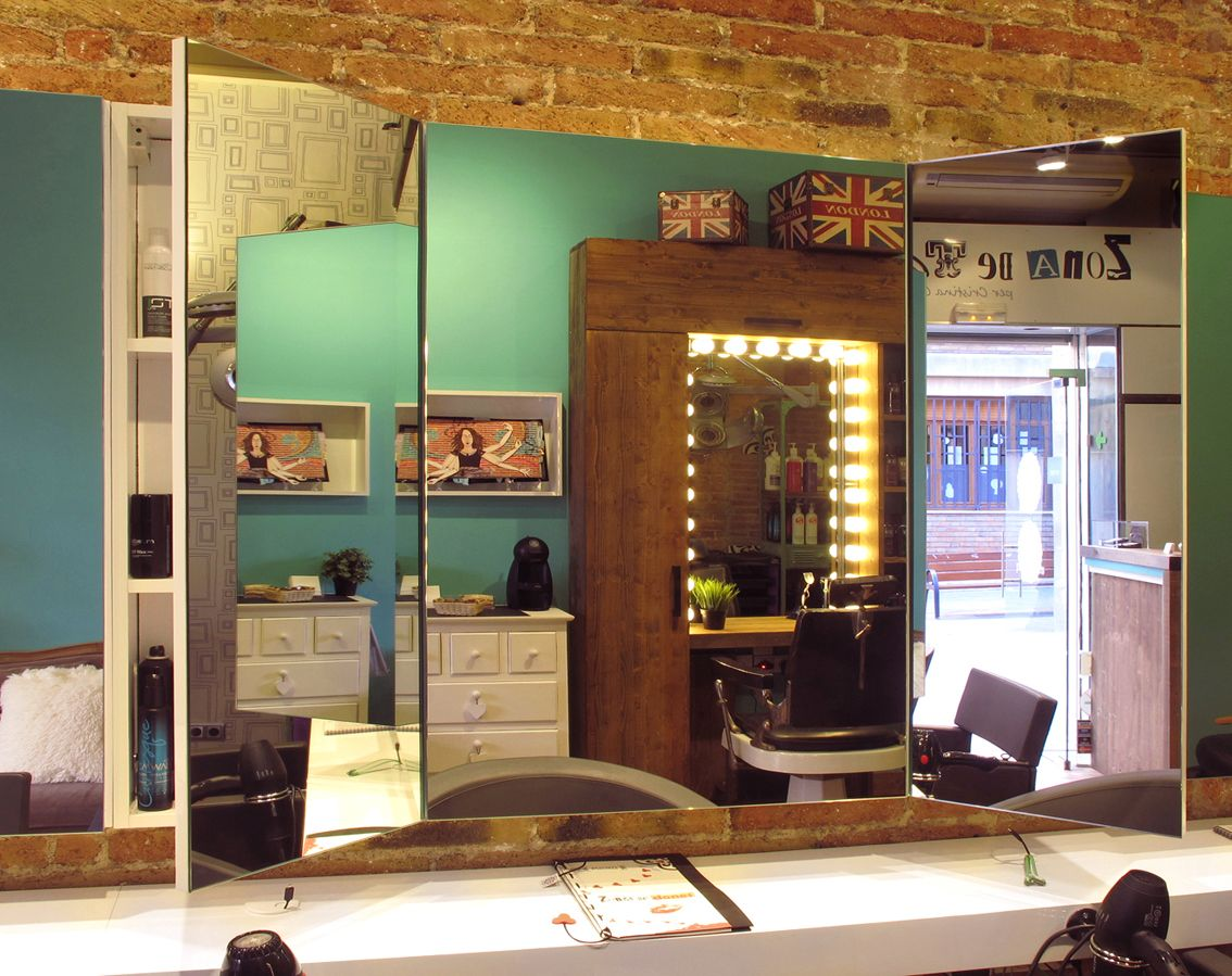 Peluqueria Barcelona Zona De Tall Hairdresser Espejos Mueble  # Muebles Peluqueria