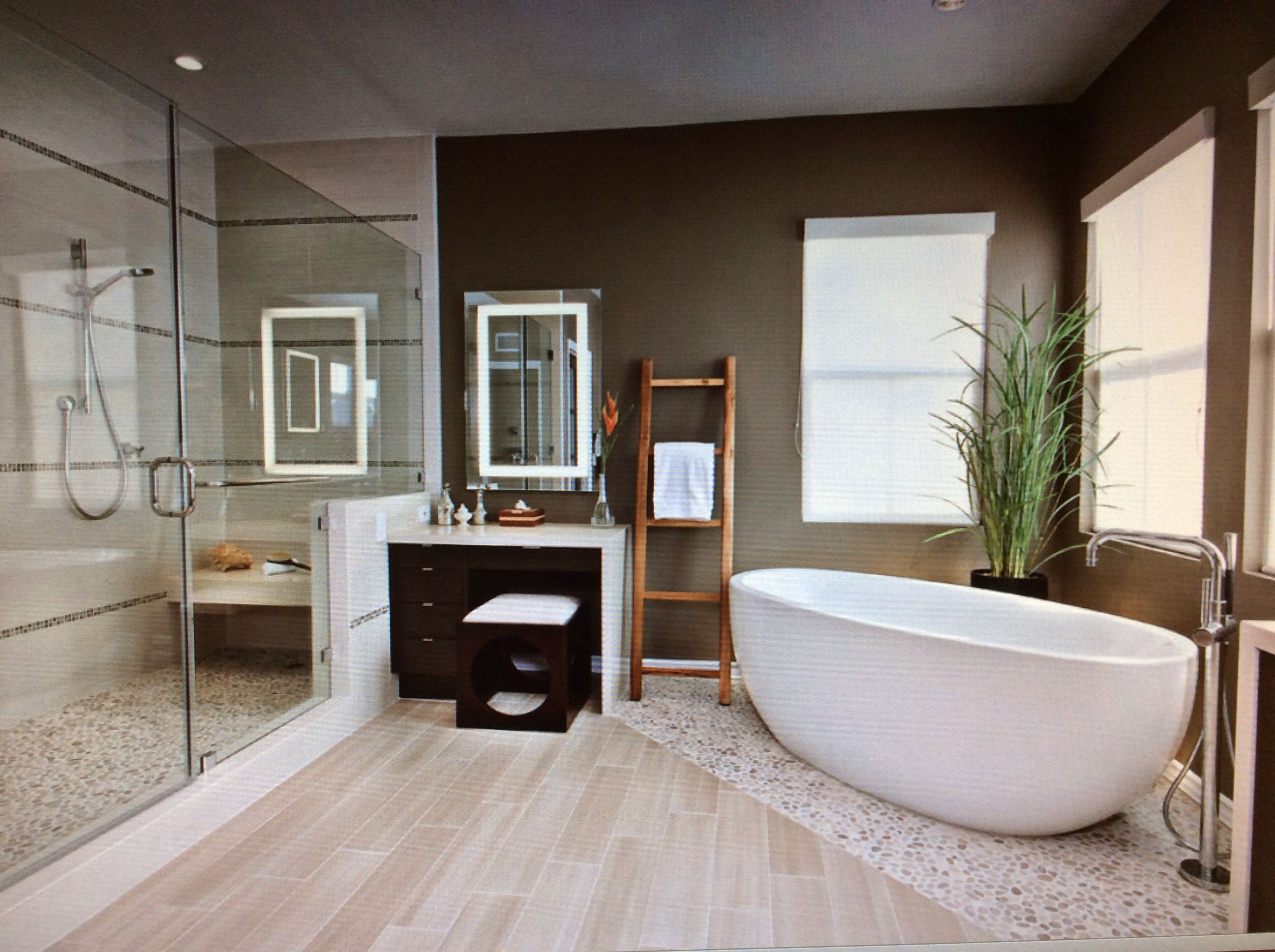 Such A Lovely Bathroom With A Large Shower And Soaking Tub The