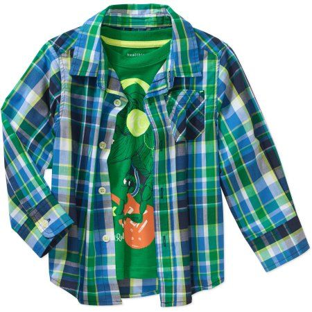 546faaee1 Healthtex Baby Toddler Boys' Woven Shirt and Graphic Tee 2-Piece Set, Toddler  Boy's, Size: 12 Months, Green