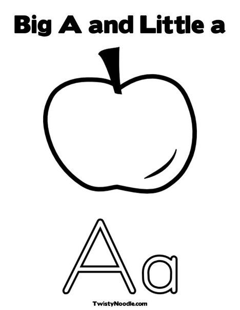 Big And Little Letter A Coloring Page Lettering Apple Coloring