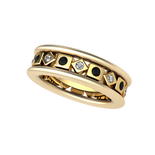 Ring Z-488 / Gold 750 / Diamonds / Black Diamonds - TAURUS Jewels