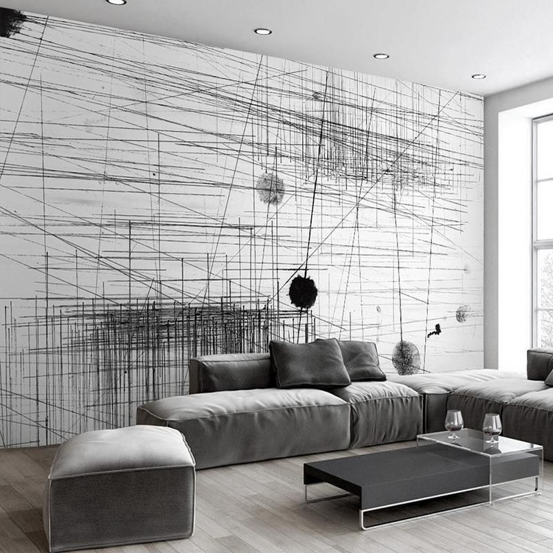 Custom Mural Black White Abstract Lines Wallcovering Wall