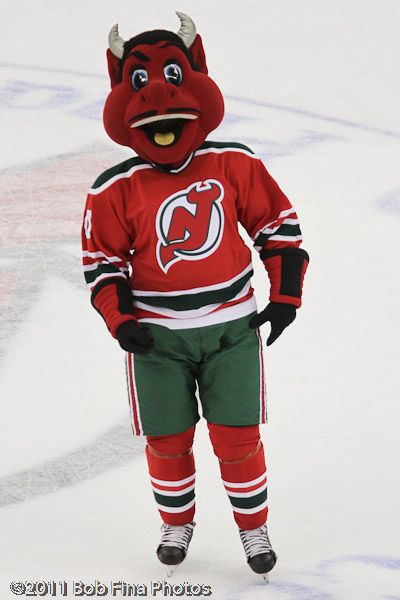 f7a7b6a3f New Jersey Devils  mascot NJ Devil wearing  00 in between periods when the  Washington Capitals visited the New Jersey Devils on March 18