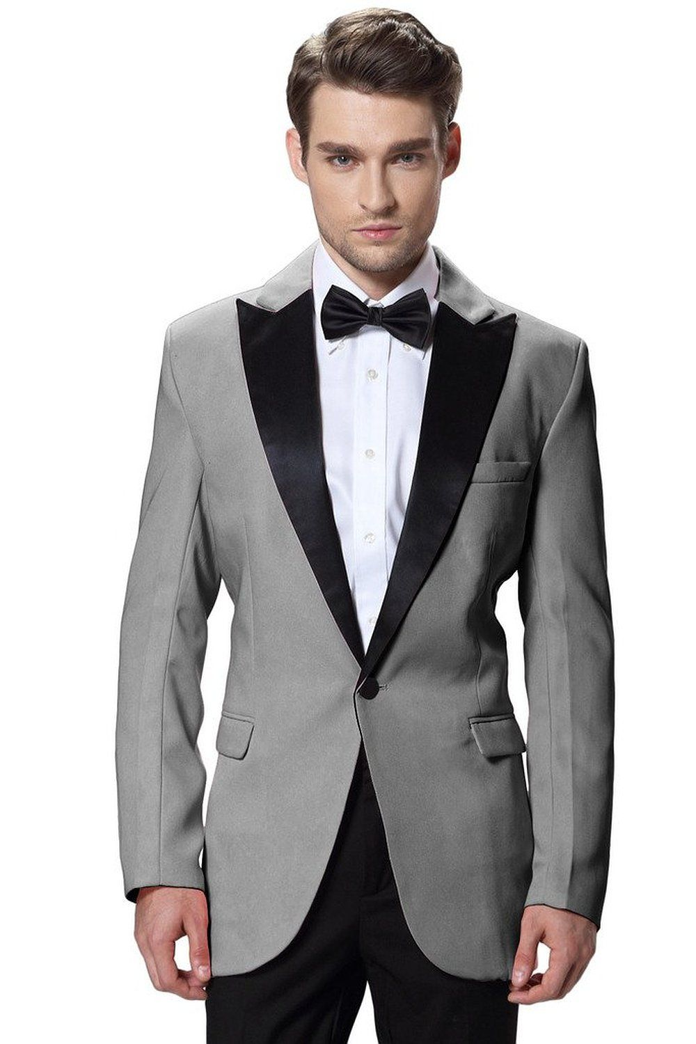 New Gray Jacket Black Pants Groom Tuxedos high quality Men Suits for ...