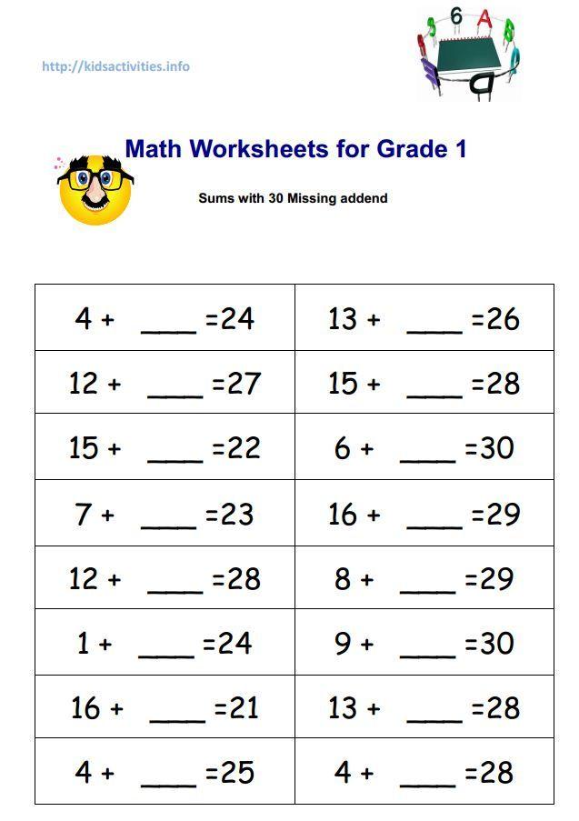 Missing Addend Addition Worksheets 2nd Grade Kids Activities Math Worksheets For Grade 1 Missing Addend Math Worksheets Missing number worksheets 2nd grade