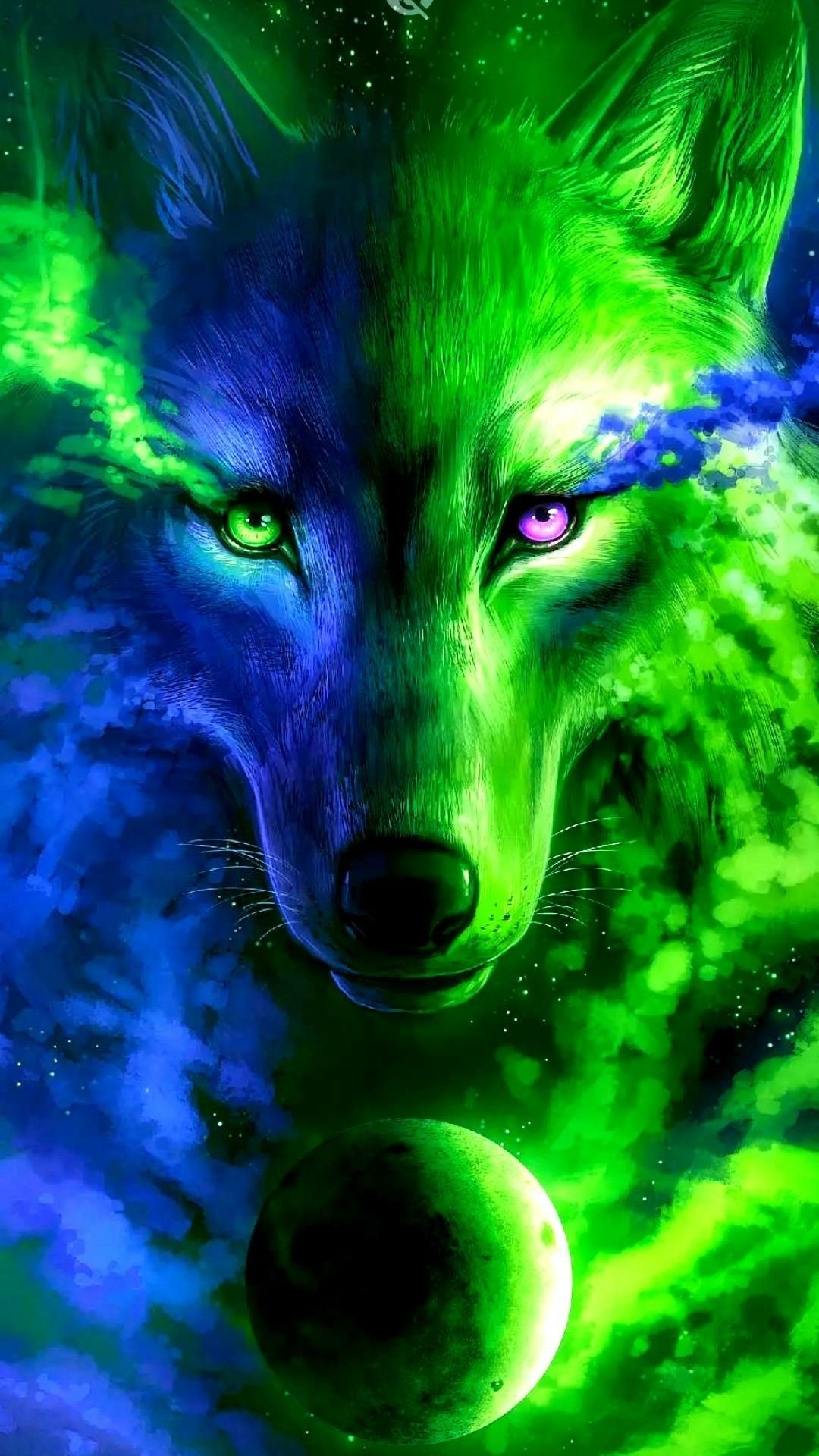 Blue And Green Wolf Wolf Wallpaper Galaxy Wolf Mythical Creatures Art