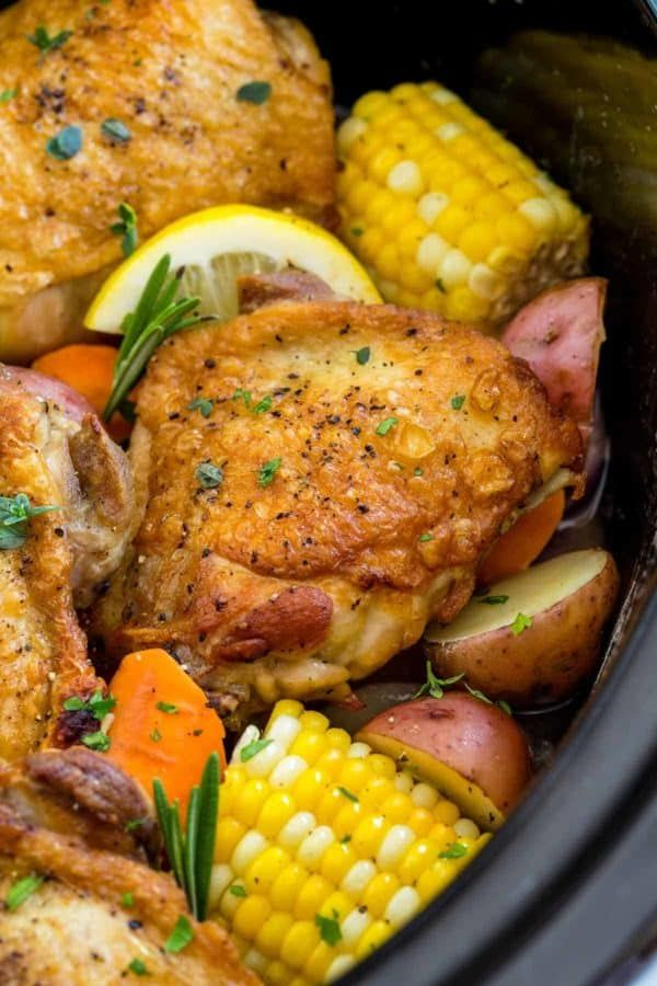 Slow Cooker Chicken Thighs With Vegetables Jessica Gavin Recipe Chicken Thigh Recipes Crockpot Crockpot Recipes Slow Cooker Slow Cooker Chicken Thighs