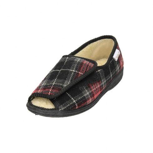 8ebefc3d0aa Dr Keller Ladies Velcro Open Toe Fur Lined Red Burgundy Black Slippers Shoe  - Dr Keller from Jenny-Wren Footwear UK