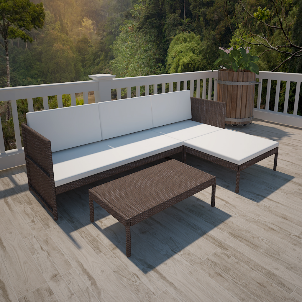 White Brown Sitting In The Garden Set Polirattan With Sofa 3 Seater Brown Lovdock Com With Images Outdoor Sofa Sets Outdoor Lounge Set Garden Sofa Set