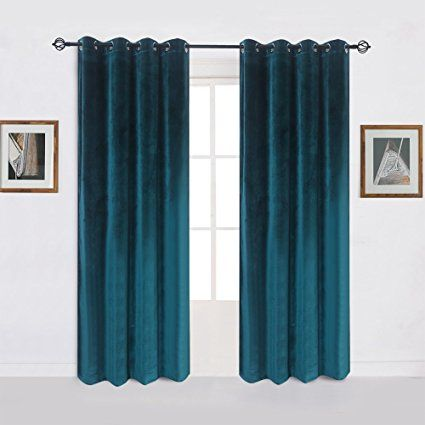 Amazon.com: Super Soft Signature Velvet Curtains Set of 2 Dark-green Classic Blackout Panels Home Theater Grommet Drapes Eyelet 52Wx96L-inch Dark Green(2 panels) with Matching Tiebacks: Home & Kitchen