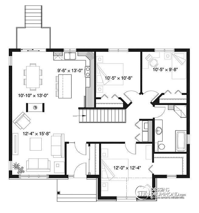 Plan de Rez-de-chaussée Maison style champêtre rustique, 3 à 5