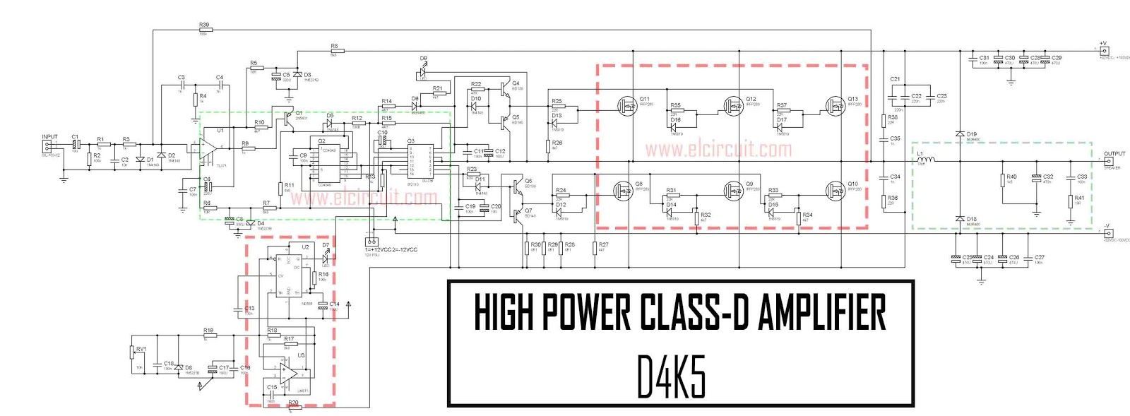 high power lifier circuit diagram besides h bridge inverter circuit high power class d amplifier d4k5 [ 1600 x 589 Pixel ]