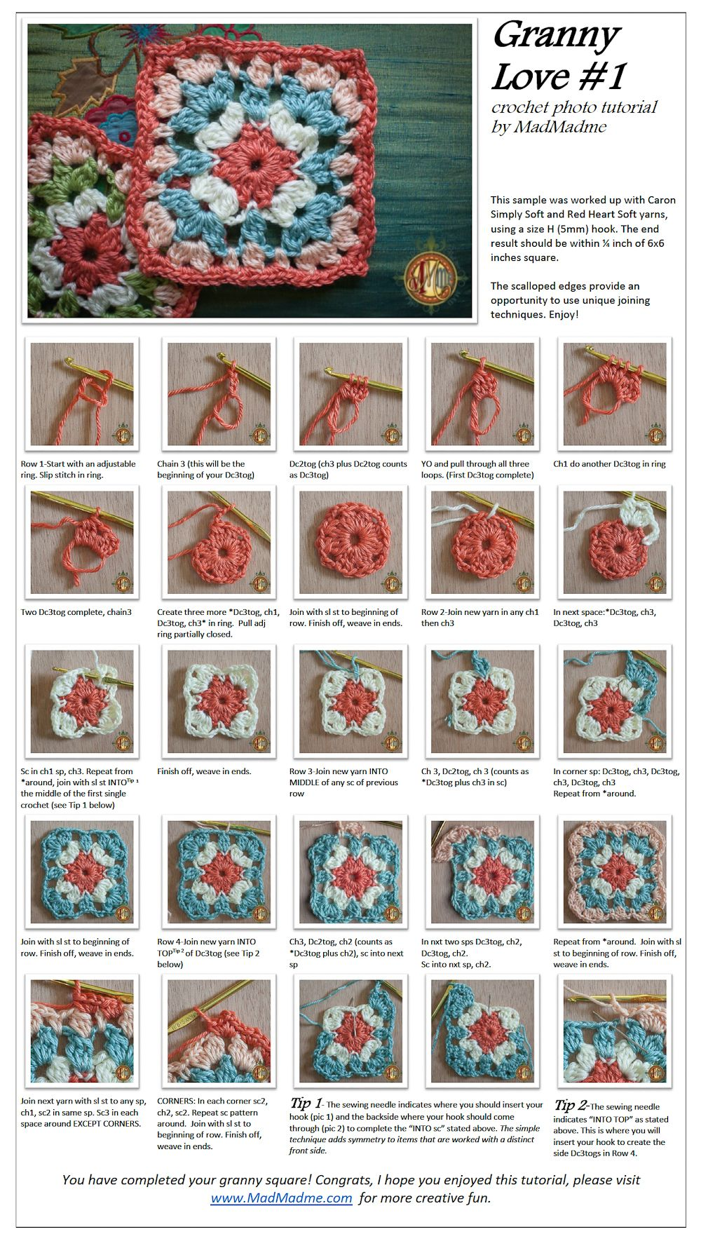 Granny Love Square - photo tutorial | croche receitas | Pinterest ...