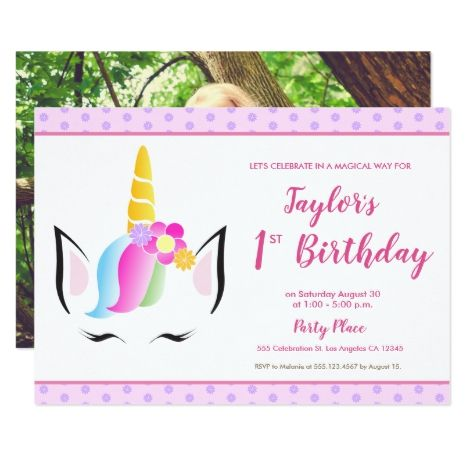 1st birthday Unicorn party Photo Invitation   Zazzle com - Photo invitations, Unicorn party, Unicorn invitations, Kids birthday party invitations, 1st birthday, Unicorn birthday parties - Unicorn is all the rage, this kid's birthday party invitation is no exception  Personalize and customize your little girl's 1st (first) birthday invitation featuring my cute, rainbowhaired unicorn illustration  With purple flower patterns and a pink background  Include a photo on the back to share how much your child has grown