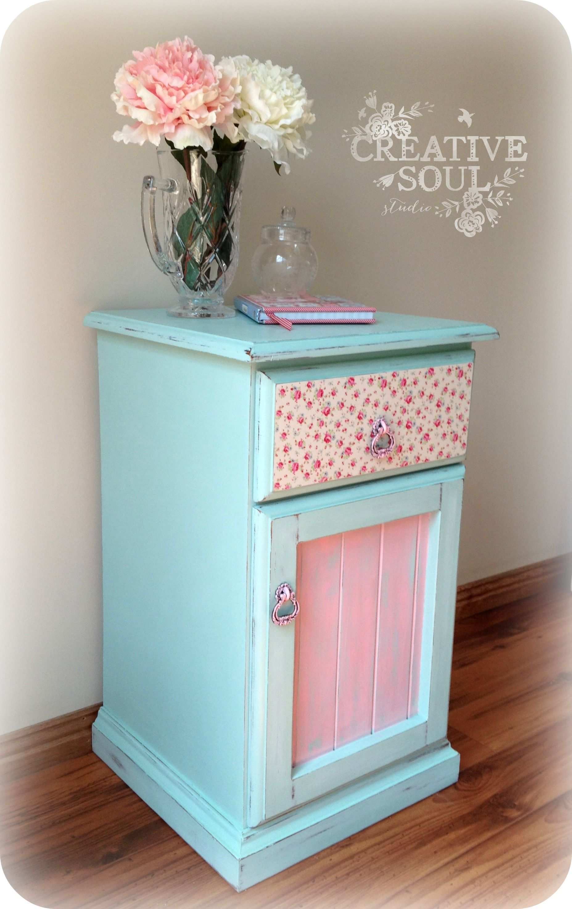 Shabby Floral Bedside Table Decoupaged Drawer Front And Painted In Annie Sloan Chalk Paint Revamp Furniture Furniture Makeover Painting Furniture Diy