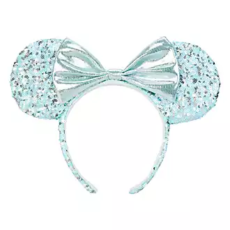 Disneyland Paris Minnie Mouse Arendelle Aqua Blue Sequined Ear Headband Frozen 2