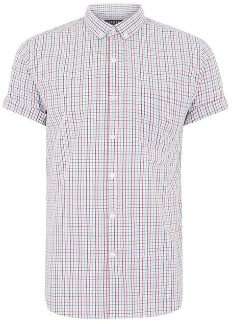 Topman Light Blue and Red Check Shirt