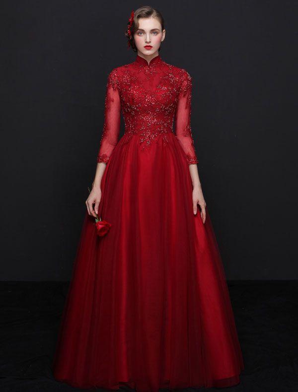 Elegante Cheongsam Verbesserte Abendkleider 2017 Hohen Hals ...