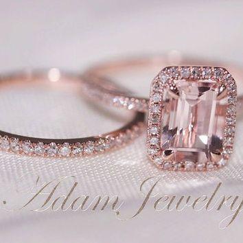TwoRing Set Discount Fancy Halo Emerald Cut Morganite Ring 14K