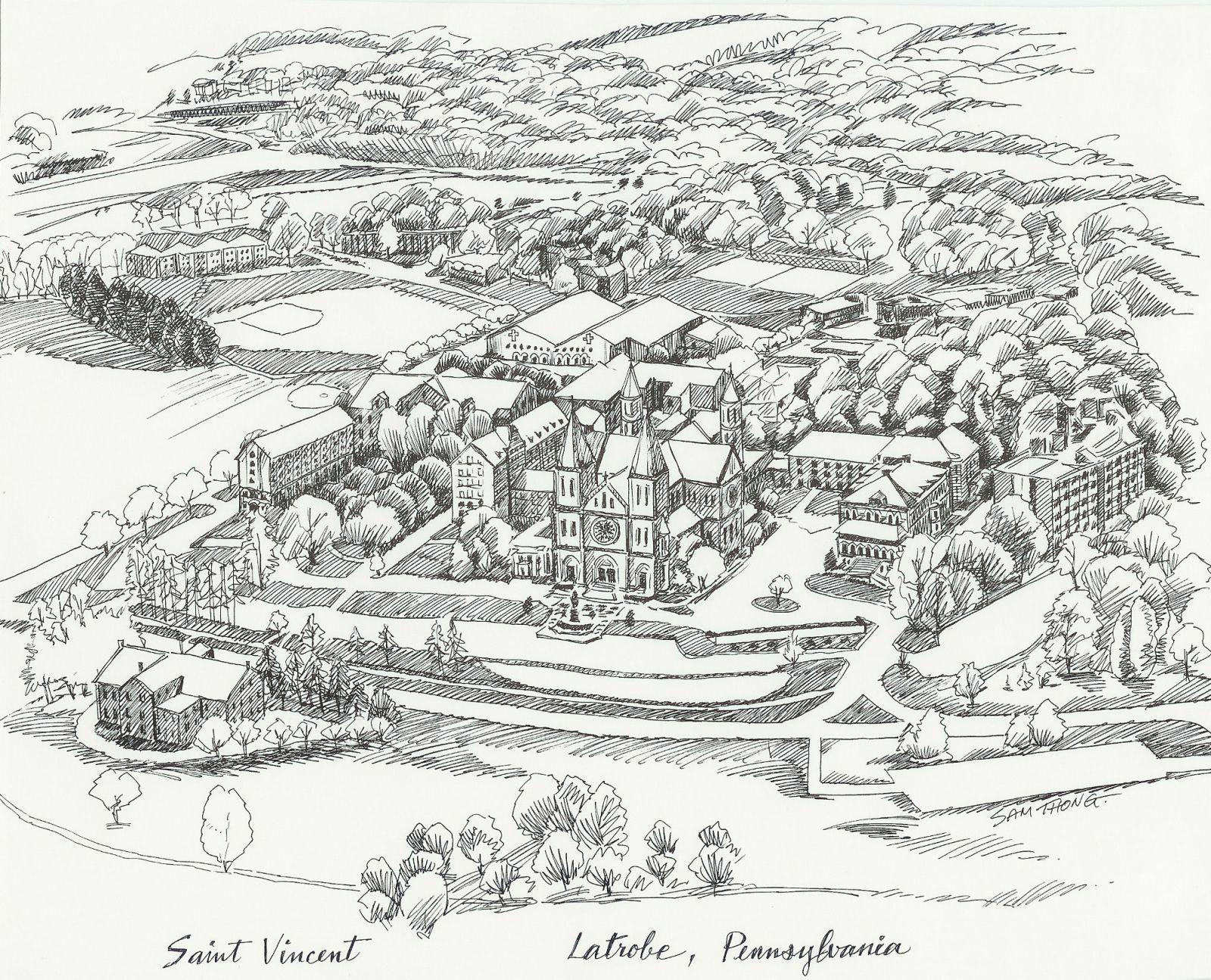 st vincent college campus map Campus Map Aerial View Line Drawing Saint Vincent College