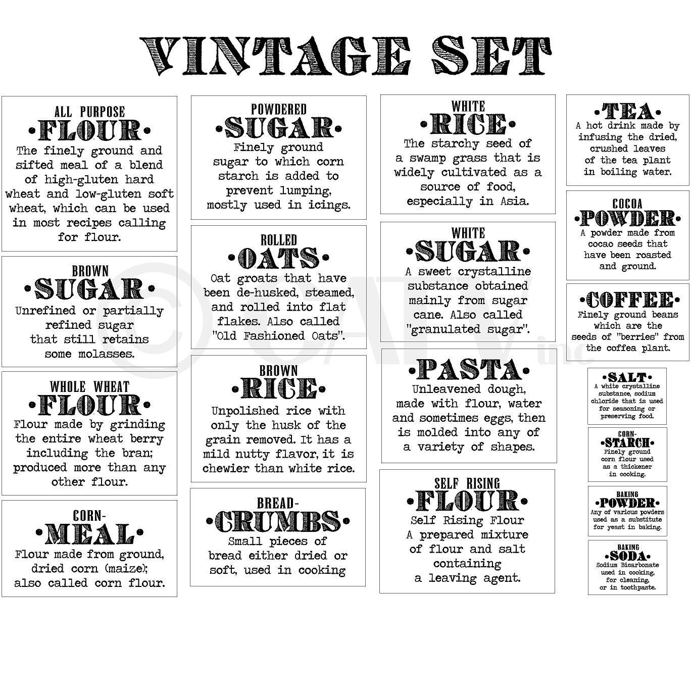 oo these are great for your op shopped or otherwise purchased basics definition vintage font flour sugar oats rice pasta tea coffee kitchen canister labels