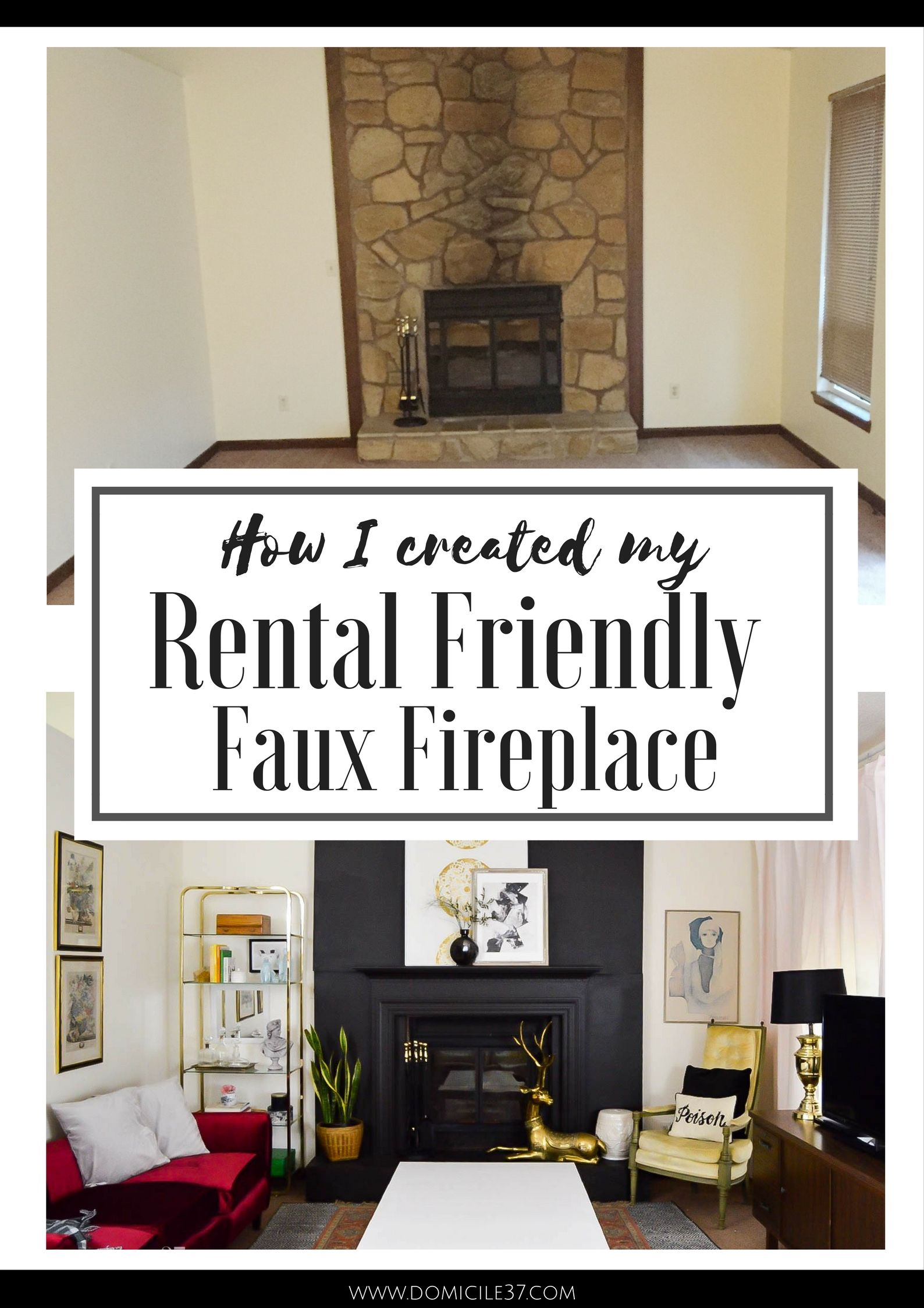 Faux Fireplace Al Friendly One Room Challenge Facade Black